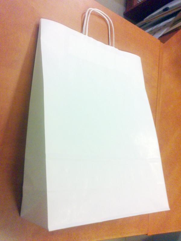 Sodrott fules papirtaska 32x41cm feher
