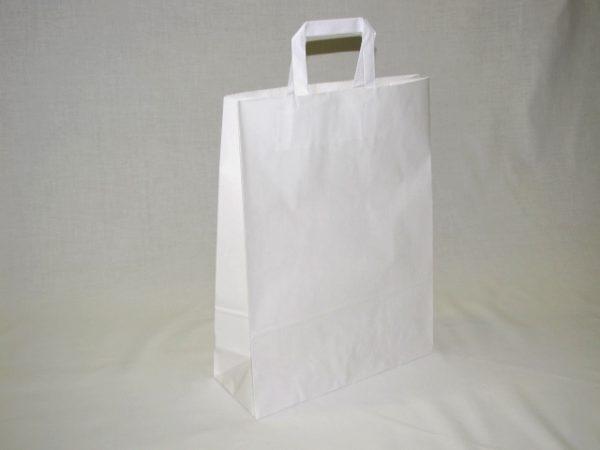 Szalagfules papirtaska 32x41cm feher