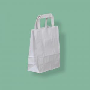 Szalagfüles papírtáska Szalagfüles papírtáska 18x22+8 cm fehér